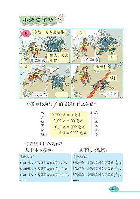 小学四年级数学下册小数的意义和性质_人教版小学课本图片