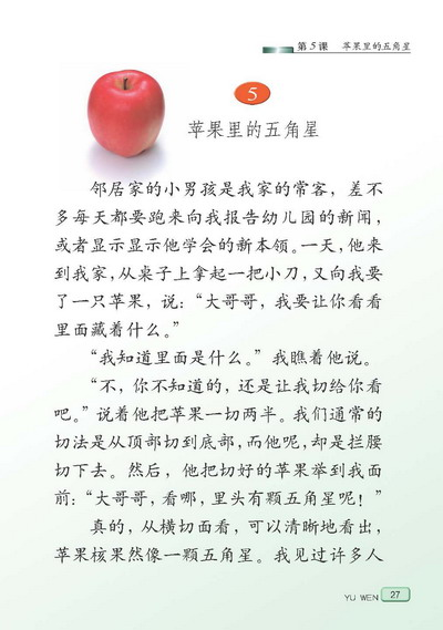 语文下册课文苹果里的五角星