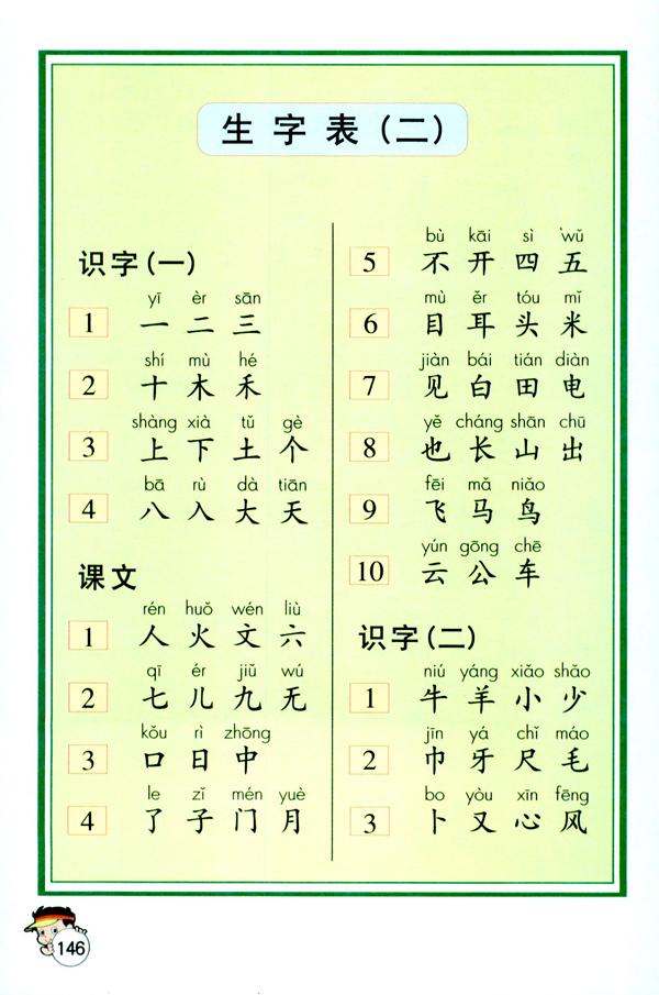 人教版一年级上册语文——生字表二