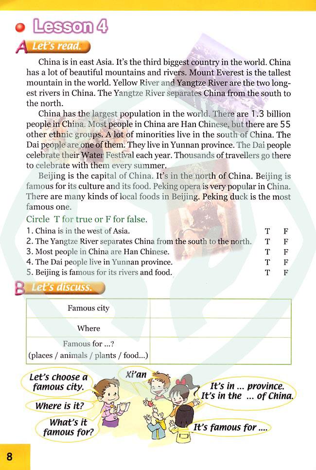 人教版新起点小学英语六年级上册 lesson4高清图片