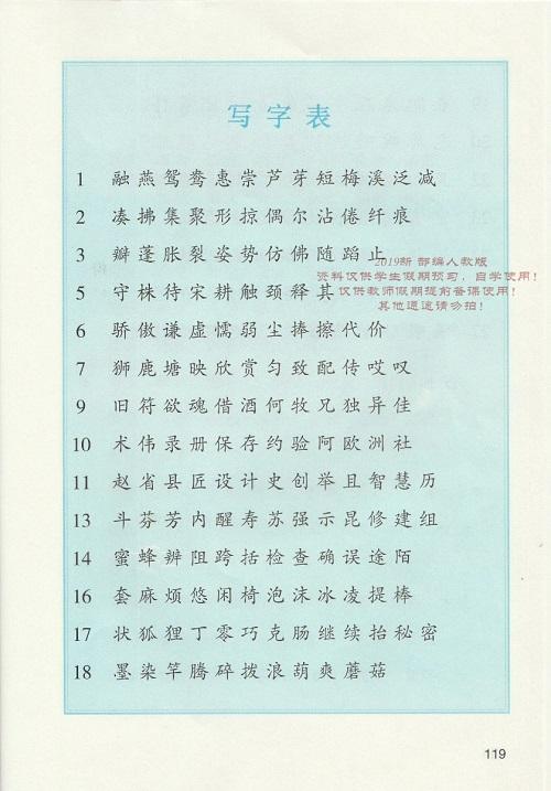 《写字表》新人教部编版2019年小学三年级语文下册课本全册教材