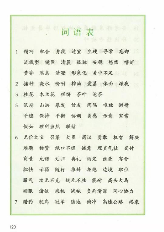《词语表》人教版小学五年级语文上册2019年5月发版课本全册教材